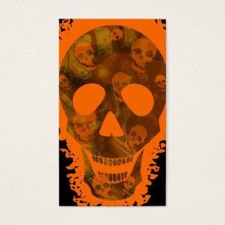 Big Skull Orange vertical black Business Card