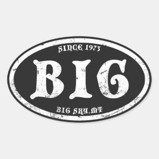 Big Sky Black Grunge Oval Sticker