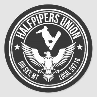 Big Sky Halfpipers Union Classic Round Sticker