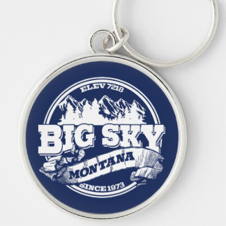 Big Sky Old Circle Blue Silver-Colored Round Keychain