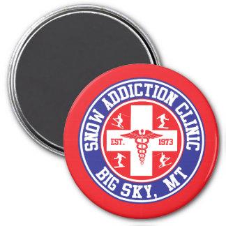 Big Sky Snow Addiction Clinic 3 Inch Round Magnet