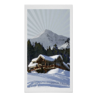Big Sky Winter Cabin-Print Poster