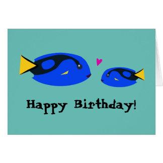 Big & Small Blue Tang Fish Kissing Happy Birthday! Card