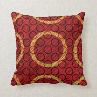 Big Small Circle Texture Wine Red Lime Green Throw Pillow
