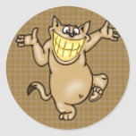 Big Smile Cartoon Cat Round Stickers