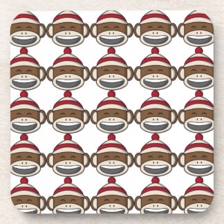 Big Smile Sock Monkey Emoji Beverage Coaster