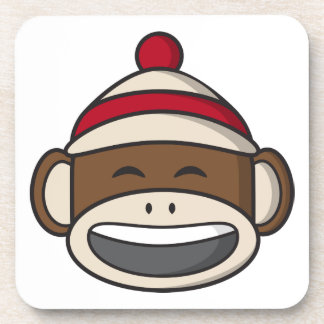 Big Smile Sock Monkey Emoji Drink Coaster