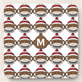 Big Smile Sock Monkey Emoji Monogrammed Beverage Coaster
