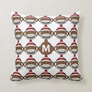 Big Smile Sock Monkey Emoji Monogrammed Throw Pillow