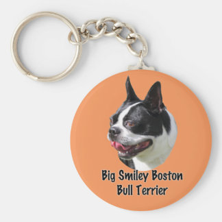 Big Smiley Boston Bull Terrier Multi products Basic Round Button Keychain