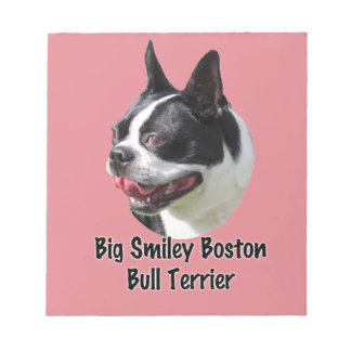 Big Smiley Boston Bull Terrier Multi products Notepads