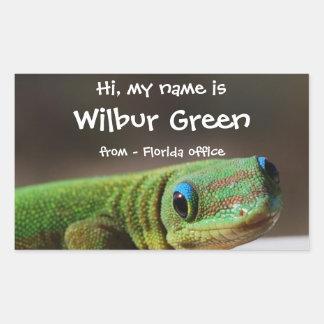 Big Smiling Gecko Name Badge Rectangular Sticker