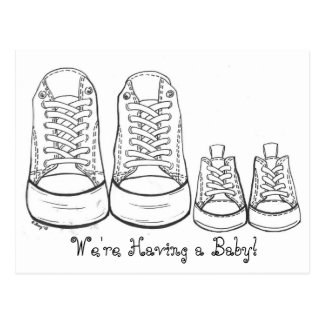 Big Sneakers - Little Sneakers Baby Announcements Postcard
