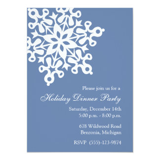 "Big Snowflake Blue Holiday Party Invitations 5.5"" X 7.5"" Invitation Card"