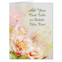 BIG Soft Blush Rose Floral Card