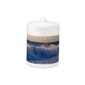 Big splashing waves sunrise Florida beach Teapot