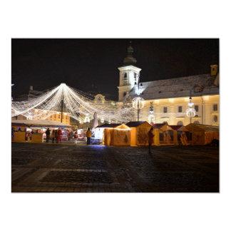 Big Square at Christmas time, Sibiu 6.5x8.75 Paper Invitation Card
