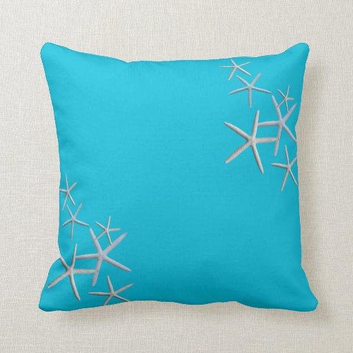 Big Square Throw Pillows : Big Square Starfish Aqua Blue Throw Pillow Zazzle