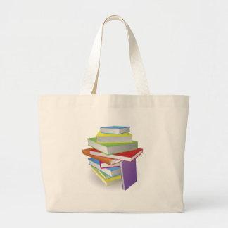Big stack of books illustration tote bag