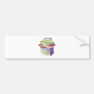 Big stack of books illustration bumper sticker