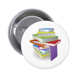 Big stack of books illustration pinback button