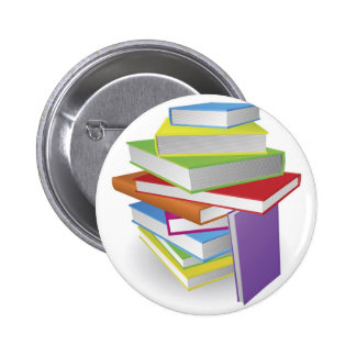 Big stack of books illustration pinback buttons