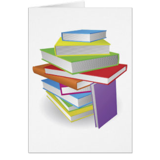 Big stack of books illustration greeting cards