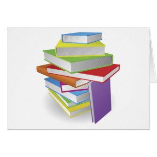 Big stack of books illustration greeting card