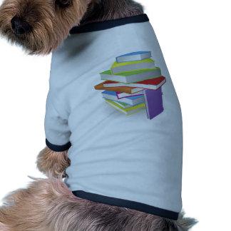Big stack of books illustration doggie tshirt