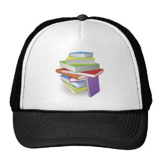 Big stack of books illustration mesh hat