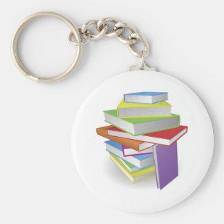 Big stack of books illustration keychain