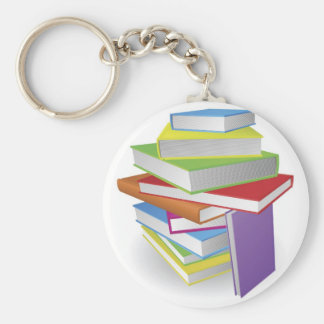 Big stack of books illustration key chains