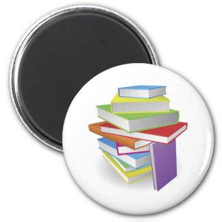 Big stack of books illustration fridge magnets