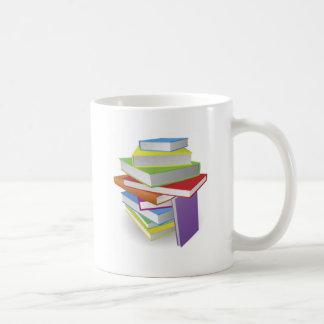 Big stack of books illustration coffee mugs