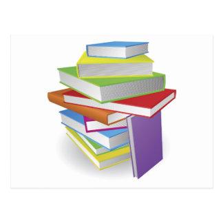 Big stack of books illustration postcard
