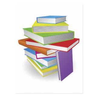Big stack of books illustration postcards