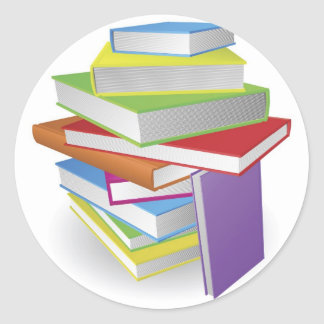 Big stack of books illustration sticker