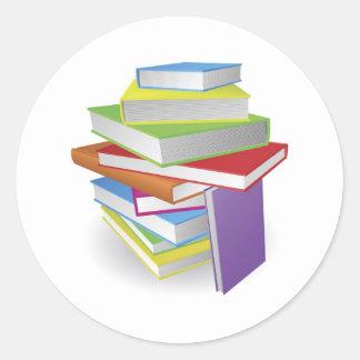 Big stack of books illustration stickers