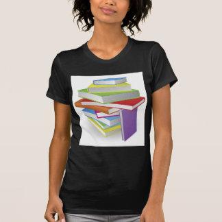 Big stack of books illustration tee shirts