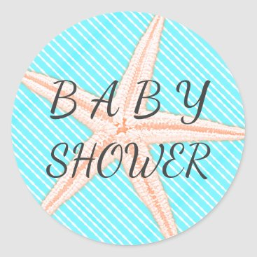 Beach Themed Big Starfish Aqua Stripes Baby Shower Classic Round Sticker