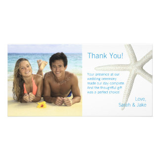 Big Starfish Custom Photo Wedding Thank You Card