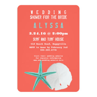 Big Starfish Sand Dollar Orange Bridal Shower 5x7 Paper Invitation Card