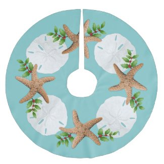 Big Starfish Sand Dollars Holly Leaves Brushed Polyester Tree Skirt