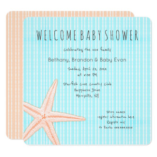 Big Starfish Square Welcome Baby Shower Card