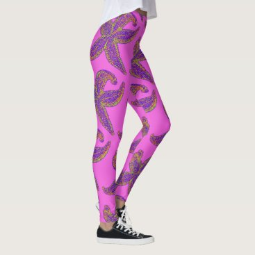 Beach Themed big starfish Thunder_Cove pink Leggings