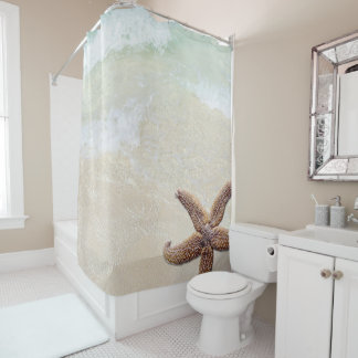 Big Starfish Tropical Ocean Beach Bath Shower Curtain