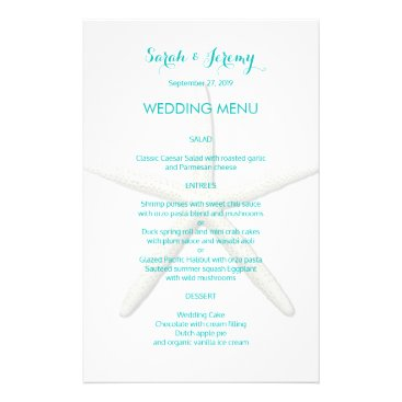 Beach Themed Big Starfish Wedding Menu Template Blue Text