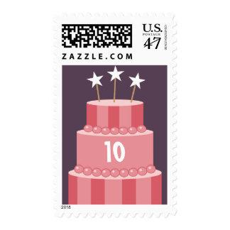 Big Striped Cake Birthday Age Postage