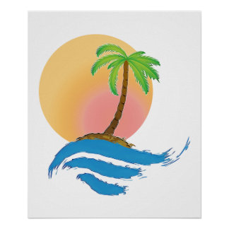 Big Sun, Palm and Surf Posters