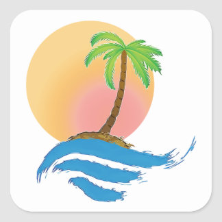 Big Sun, Palm and Surf Square Sticker